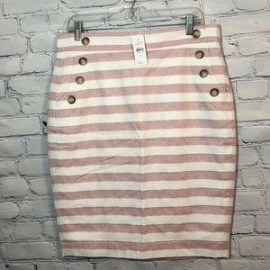 NWT LOFT Ann Taylor Red & White Striped Skirt